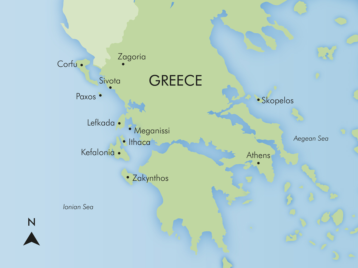 Ionian Wandering Map Itineraries Simpson Travel